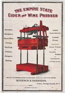 RARE Color Litho Advertising Broadside & Letter Cider Wine Press 1888 Fulton NY