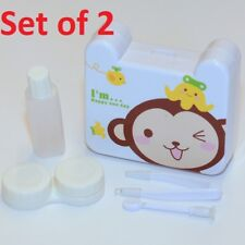 2 X Cute Happy Monkey & Banana White Travel Contact-Lens Case Holder w/ Mirror