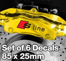 AUDI S-LINE Quality Brake Caliper Decals Stickers - 85mm x 25mm - 6 DECALS