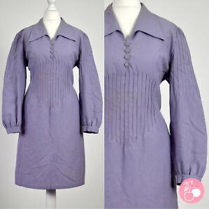 LAVENDER NEEDLE-PLEAT, BIG COLLAR 1960s VINTAGE MOD DRESS 14