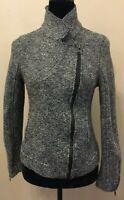 Tahari Womens Zip Up Mandarin Collar Bomber Jacket Medium Gray Marled Wool Blend