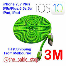iPhone 7 5 5s 5c 6 6S Plus 3M Lead Cord Cable Charger Sync iOS10.3 Braided Green