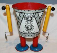 1940's Mr. Sandman The Robot - tin litho metal sand toy pail vintage