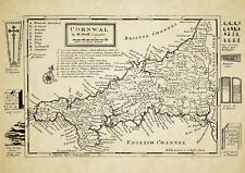 Cornwall  County Map by Herman Moll 1724 - Reproduction