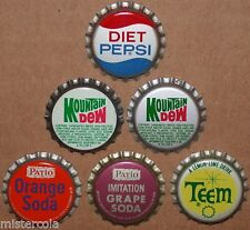 Vintage soda pop bottle caps PEPSI PEPSI COLA Collection of 6 different unused