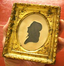 1830 American Antique Silhouette Brass Over Wood Frame NICE