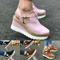 Women Casual Platform Wedge Espadrille Sandals Round Toe Ankle Strap Shoes #B