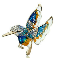 Beautiful HUMMINGBIRD Rhinestone Enamel Retro Vintage Inspired Brooch BLUE