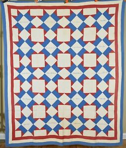 Well Quilted, Patriotic 1910's Red, White & Blue Touching Stars Quilt, Signed!