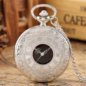 Black/Silver/Bronze/Gold Roman Numerals Quartz Pocket Watch Hollow Case Gifts