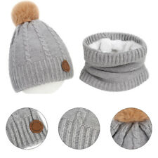 Children's hat and scarf light purple-marked fur ball twist Knitting Hats suit