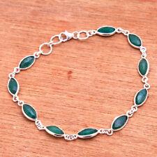 Green Emerald GEMSTONE statement solid Bracelet 925 Sterling Silver Jewelry