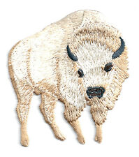 Buffalo - Bison - White - Embroidered Iron On Applique Patch - R