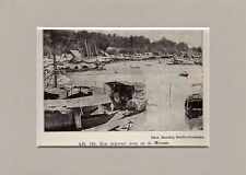 Antique matted print floating houses Chao Phraya River Menam Thailand 1932