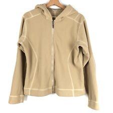 f9e43a5eb3b PATAGONIA womens fleece jacket Medium tan brown hoodie ribbed o1115