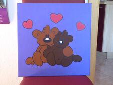 UNIKAT Acrylbild,Teddymotiv 40x40 cm Leinen auf Holzrahmen, handgemalt