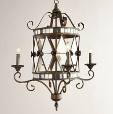 New Black Iron & Antique Silver Mirrored Glass 4-Light Chandelier French Country