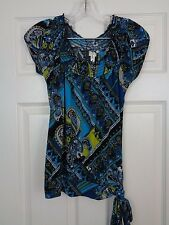 Heart Soul Women's Paisley Multi-Color Cap Sleeve Tunic Top Size Small