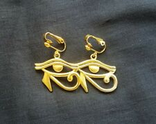 Egyptian Eye of Ra (Re) Gold plated Drop Dangle Clip On Earrings, Gothic, Egypt