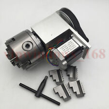 CNC Router Rotary Axis 4Jaw 80MM Chuck 4th Rotational Axis Nema23 Stepper Motor