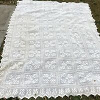 """Vintage Hand Crocheted Cotton Ivory Coverlet Bedspread Twin 80"""" X 100"""""""