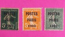 FRANCE TIMBRES PRÉOBLITÉRÉS N°26,28,30 UTILISES  COTE 310€ N°137