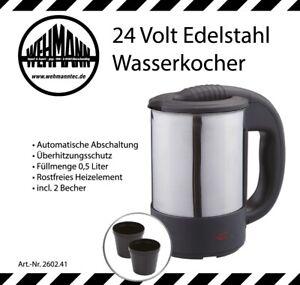 Wasserkocher 24 Volt 24V LKW Edelstahl mit 2 Tassen automatische Abschaltung !