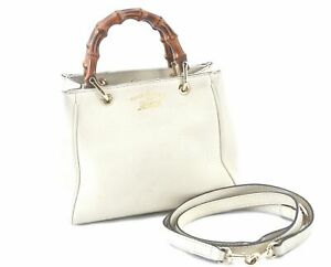 Authentic GUCCI Bamboo 2way Shoulder Hand Bag Leather 368823 White E2388