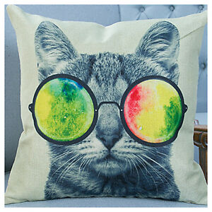 UK 18'' Retro Vintage Cool Lovely Cat Linen Throw Pillow Case Cushion Cover