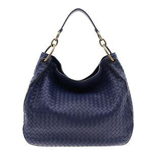 Bottega Veneta Intrecciato Hobo Shoulder Bag Blue Leather New $3550