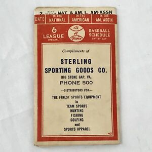 1950 At A Glance 6 League Official Baseball Schedule Day By Day Amer Nat Texas