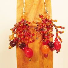 "2"" Orange Multi Color Bohemian Mix Bead Style Handmade Dangle Seed Bead Earring"