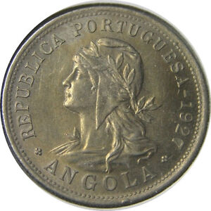 elfj Angola Portuguese 50 Centavos 1927 Lady