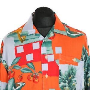 80s Vintage LE FROG Abstract Shirt | Men's L | Retro 90s Hawaiian Aloha Festival