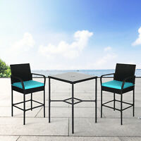 3 Piece PE Wicker Dining Set Patio Outdoor Bistro Height Bar Stools With Table