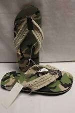 NEW Boys Flip Flops Shoes Medium 13 - 1 Green Camo Camouflage Frayed Sandals