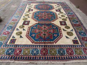 Vintage Traditional Hand Made Turkish Oriental Wool White Blue Carpet 397x300cm