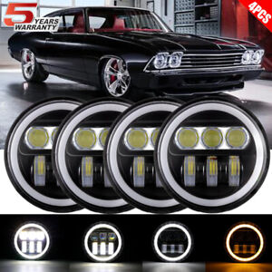 "4PCS 5 3/4"" 5.75 Projector LED Headlights Sealed Beam  Ring DRL Bulbs"