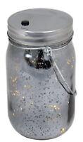 Mercury Glass Light Up LED Mason Jar Christmas Lantern With Handle ~ Black