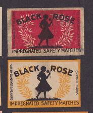 Ancienne étiquette   allumette Finlande   BN20374  Femme  Black rose 2
