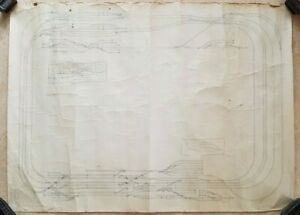 Vintage large Tatty Hand drawn Model Railway proposed Track layout