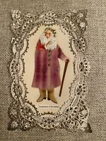 Very Rare Antique Victorian Santa Claus Die Cut Christmas Card Real Fabric