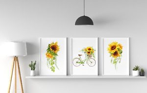 Watercolor Sunflower Retro Bicycle Prints Set, Room Pictures Wall Art Decor