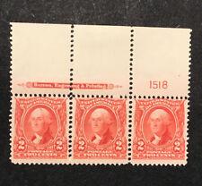 Us 1903 Sc#302, 2c Washington Top Imprint Plate # Strip Of 3, Vf Mnh & H (A)