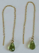 14k Yellow Gold 9 x 6 Briolette Peridot Dangles off of Threader Earrings 1.8gram