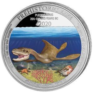 20 Francs Congo 2020 1 Once Silver Bu 999,9 ‰ Ag – Pliosaur (Colorized)