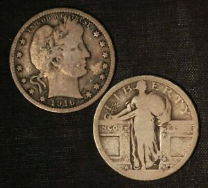 1916-D Barber & Worn Date Standing Liberty Silver Quarters - Free Ship US