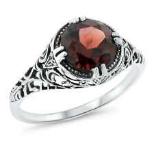 GENUINE 2 CT GARNET ANTIQUE STYLE 925 STERLING SILVER RING SIZE 7.75,  #636