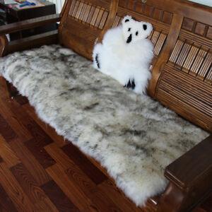 Rectangle Fluffy Area Rug Floor Carpet Car Bench Sofa Seat Cushion-Gray+Wht