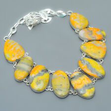 """Bumble Bee Jasper- Indonesia 925 Sterling Silver Jewelry Necklace 17.99"""" T930"""